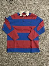 Vintage Polo Ralph Lauren Rugby Shirt Size L Blue & Red Striped Long Sleeve