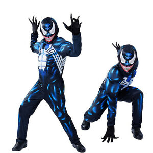 Venom Muscle Costume For Kid Boy Jumpsuit Cosplay Halloween Carnival Outfit Gift
