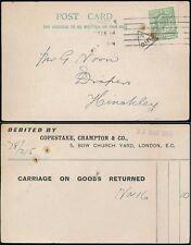 GB KE7 1909 COPESTAKE CRAMPTON CARD + PERFIN + MID 5 TRIANGLE
