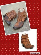 Freebird by Steven size 7US Belle Tan Suede Cowgirl Fringe Boots New