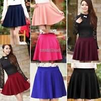 Hot Womens Skater Flared Jersey Plain Mini Skirts Party Dress Pleated Skirt