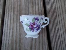 Vintage White Purple Floral Teacup Gold Trim Japan Scalloped Square Base 2-1/4