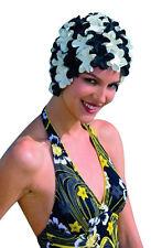 da donna Nero & BIANCO Petali di fiore vecchio stile cuffia nuoto Cappello Fashy
