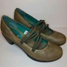 Merrell Evera Cross Womens 9.5 Grey Leather Mary Janes Heels Pumps EUC