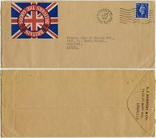 GB WW2 to CANADA 1940 PATRIOTIC LABEL A.J HORNSBY UNION FLAG