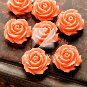 15/24pcs Resin Flatback Cabochons Cameo Flower Embellishments 14.5x14.5x8mm BW