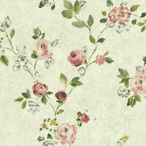 Pink Montage Floral Trail Sketch Roses Wallpaper NP6325 - Priced per Double Roll
