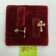 Gold Authentic 18k saudi gold cross earrings,,q
