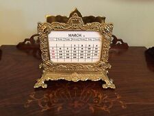 VINTAGE ORNATE BRONZE BRASS PERPETUAL DESK CALENDAR ACCESSORY WITH LETTER RACK
