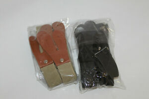 """Hosenträger Knopflöcher Lederlaschen 6*Knöpfe Hose 105cm """"Schwarz"""" oder """"Natur"""""""