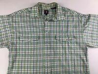 Panhandle Slim Men's Large Short Sleeve Pearl Snap Western Shirt Green Plaid L