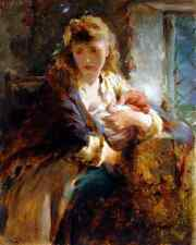 Mother and Child by George E Hicks - Art Victorian Woman Cottage 8x10 Print 0250