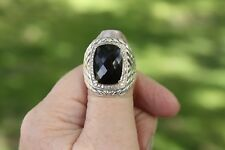 Large 925 Sterling Silver/14k Gold Braided Band Faceted Onyx/Diamond Ring Sz 7.5