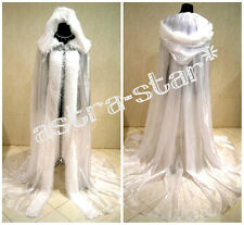 MEDIEVAL CAPE WHITE CLOAK WEDDING DRESS SNOW QUEEN NARNIA COSTUME GAME OF THRONE