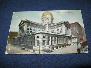 VINTAGE POST CARD POST OFFICE Chicago IL posted 1911 LOT #130