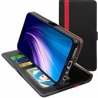 Coque Xiaomi Redmi Note 8 Etui Portefeuille Housse PU Cuir Porte-Cartes, Noir