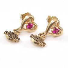 Stamper Harley Davidson 10K Yellow Gold Pink Ruby Heart Bar Shield Earrings
