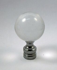 Lamp Finial Smooth  Clear Glass Sphere Ball Nickel Hardware Ball 1/4-27  (CR10)