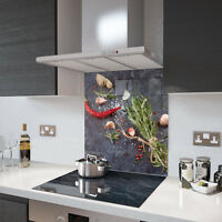 Herbs and Spice Toughened Glass Splashback Various Sizes Heat Resistant to 500°C
