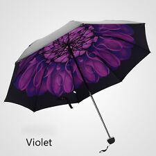Purple Violet Anti-UV Sun Rainy Umbrella Parasols Windproof Floral 3 Folding NEW