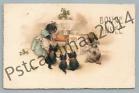 Dressed-Cat Cooking Christmas Turkey—Antique Fantasy Kittens French PC 1910s