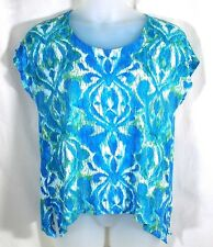 Chicos Knit Top Size 3 Large Blue Green Scoop Neck Short Sleeves Shark Bite Hem
