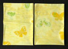 "Pequot Vintage Pillowcases x2 Yellow Butterfly Butterflies ""Flutter Bye"" Pattern"