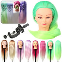 """27"""" Colorful Hair Mannequin Training Head Styling Cut Hairdressing Doll"""