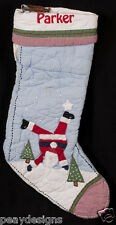 Pottery Barn Kids Christmas Stocking Blue Quilted Santa Claus PARKER Monogram