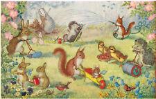 "Medici Society Postcard,PK 282,""Here We Go Gardening"",Molly Brett,1950s"