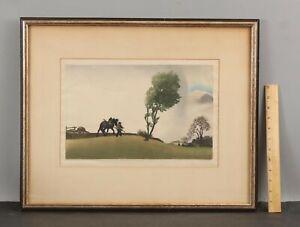 1915 Antique LEO FRANK Austria Arts & Crafts Woodblock Print, Before the Storm