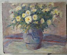 """tableau ancien huile  """"Le Bouquet blanc"""""""