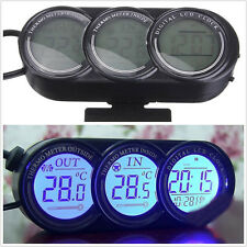 New Type 12V LED Backlight Car Indoor&Outdoor Temperature Gauge LCD Screen Clock