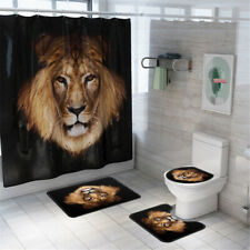 4pcs Set Non-slip Bathroom Shower Curtain Pedestal Rug Lid Toilet Cover Bath Mat