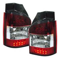 VW TRANSPORTER T5 SINGLE DOOR 03-10 REAR TAIL LIGHTS CRYSTAL RED/CLEAR LED PAIR