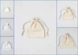 12 Cotton Drawstring Bags Pouch Jewellery Favour Present Gift Lot Wholesale
