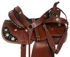 USED BROWN GAITED WESTERN HORSE PLEASURE TRAIL LEATHER HORSE SADDLE 16