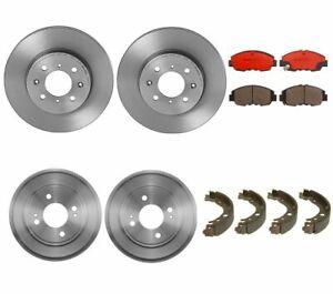 Brembo Front Disc Rotors Ceramic Pads & Rear Drums Shoes Brake Kit For Honda Fit