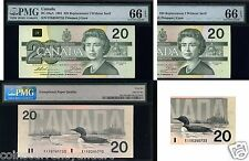 1991 PMG 66 $20 Bank Of Canada PMG Graded 66 Canada BANKNOTE scarce in 66