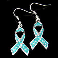 Teal w Swarovski Crystal Ovarian Cervical Cancer Awareness Ribbon Charm Earrings