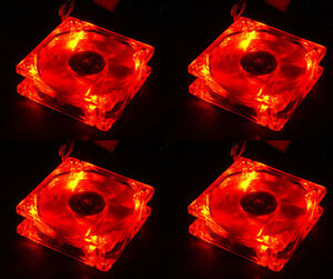 Lots 4 Red Quad 4-LED Light Quite Clear 80mm PC Computer Case Cooling Fan Mod