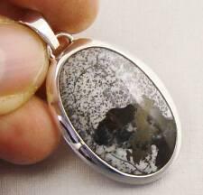 DENDRITIC OPAL Semi-Precious Gemstone & .925 Sterling Silver Pendant - E30
