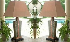 Luxe STONE and COPPER Table LAMP PAIR Set Indoor Outdoor Patio Art Deco Horchow