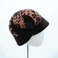 Handmade Cloche Flapper Hat Camel & Brown Leopard Printed Wool Felt Miss Fisher
