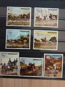 PARAGUAY 1974 UPU centenary horses 7 stamp set MNH