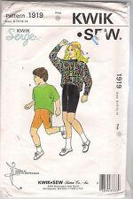 Kwik Sew Pattern 1919, Bike Shorts and Tops, Dancewear, Child 8 - 14, Uncut