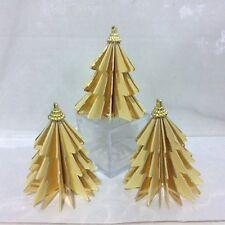 set 3 ALBERO NATALE crema oro da appendere o SEGNAPOSTO addobbo natalizio