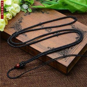 3Pcs Natural wood beads Black Circle string cord rope for pendant Necklace
