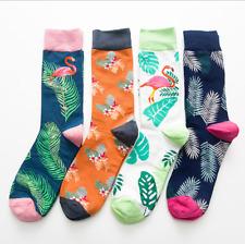 4 Pairs Men's Socks Flamingo Leaves Mid Tube Socks National Wind Cotton Socks