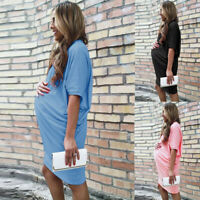 Women Fashion Summer Plus Size Casual Short Sleeve Loose Maternity T-Shirt Dress